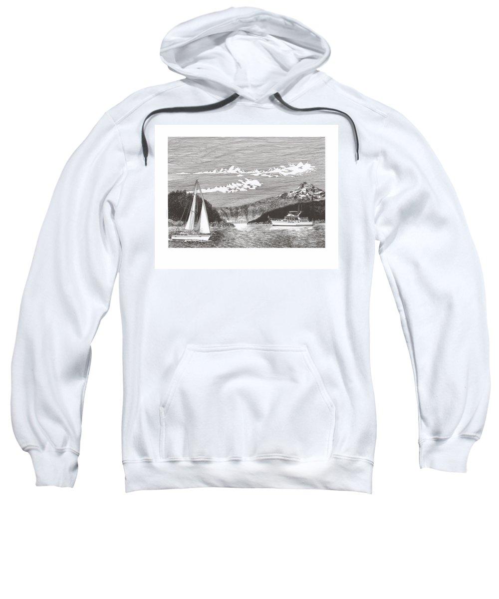 Yacht Portraits Sweatshirt featuring the drawing Sailing Mount Hood Oregon by Jack Pumphrey