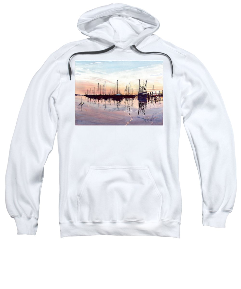 Fiery Sunset Sweatshirt featuring the painting Saint Marys Marina  Shadows Light And Fire by Joel Deutsch