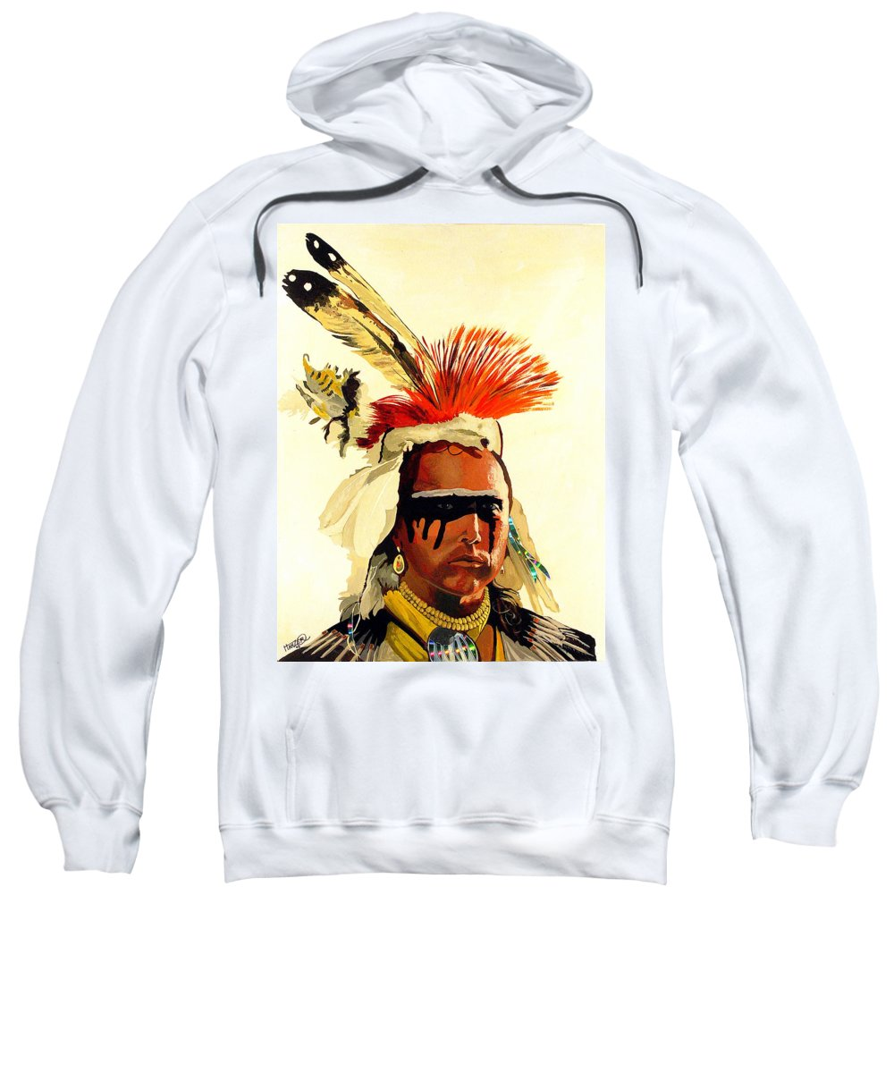 Hanzer Arts Sweatshirt featuring the painting Salish Brave by Jack Hanzer Susco