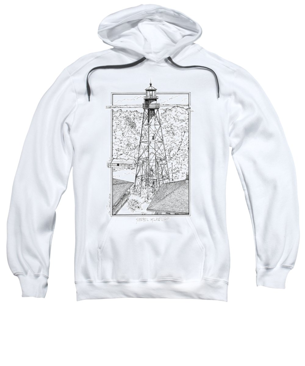 Sanibel Island Lighthouse Sweatshirt featuring the drawing Sanibel Island Light by Ira Shander