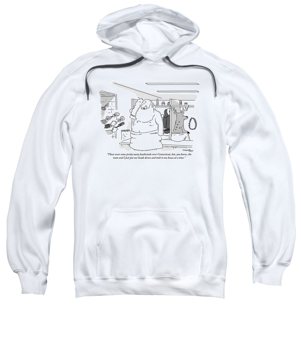 Christmas Sweatshirt featuring the drawing Santa Claus Is In A Locker Room Speaking by Mark Thompson