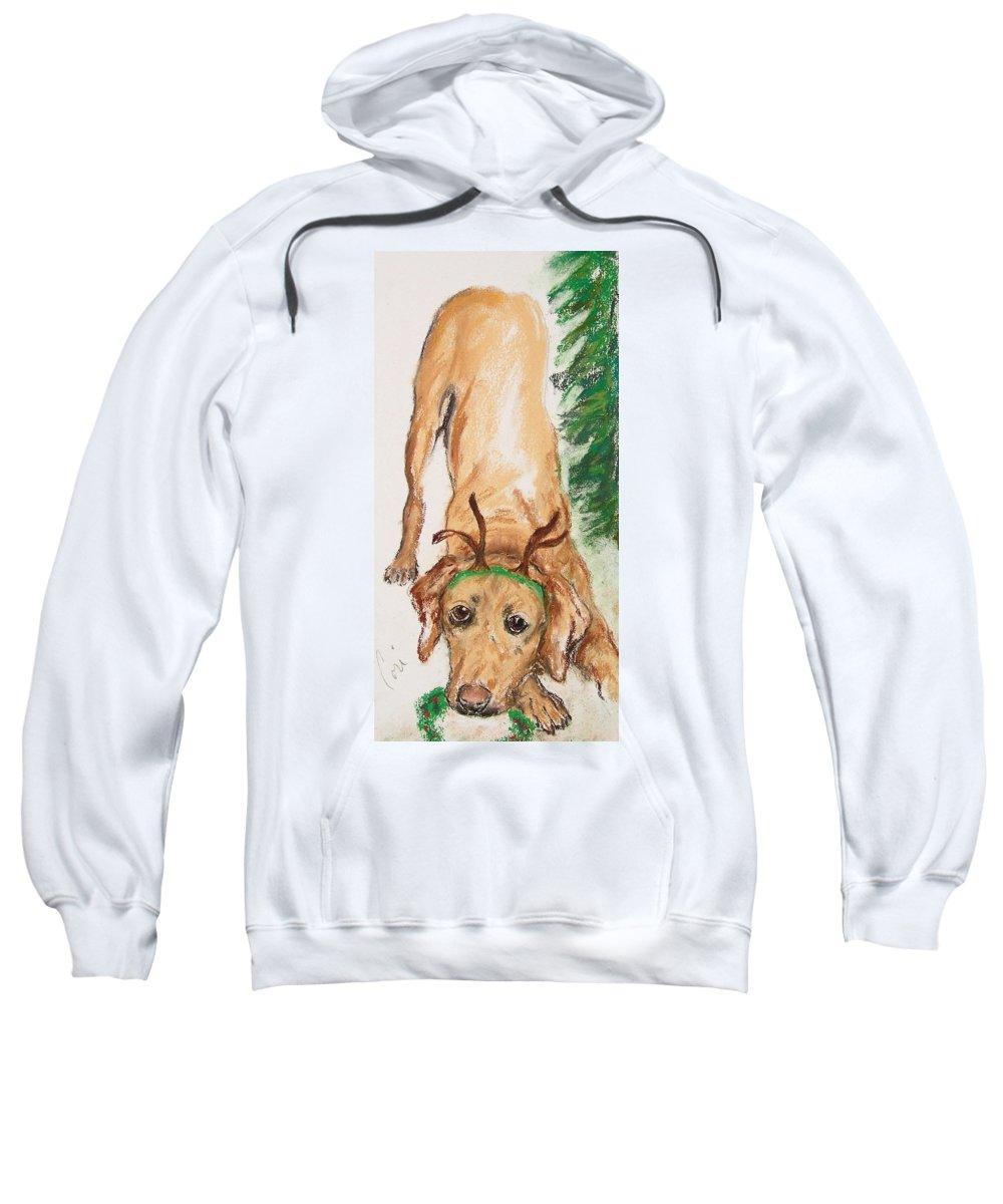 Labrador Sweatshirt featuring the drawing Santa's Helper by Cori Solomon
