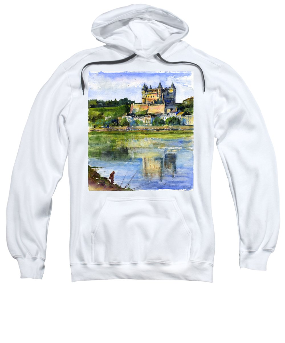 Loire Valley Sweatshirt featuring the painting Saumur Chateau France by John D Benson