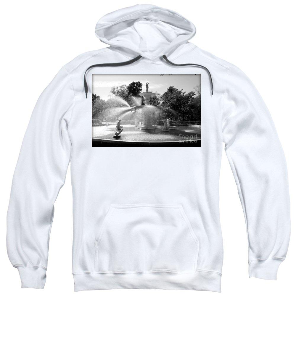 Savannah Sweatshirt featuring the photograph Savannah Fountain - Black And White by Carol Groenen