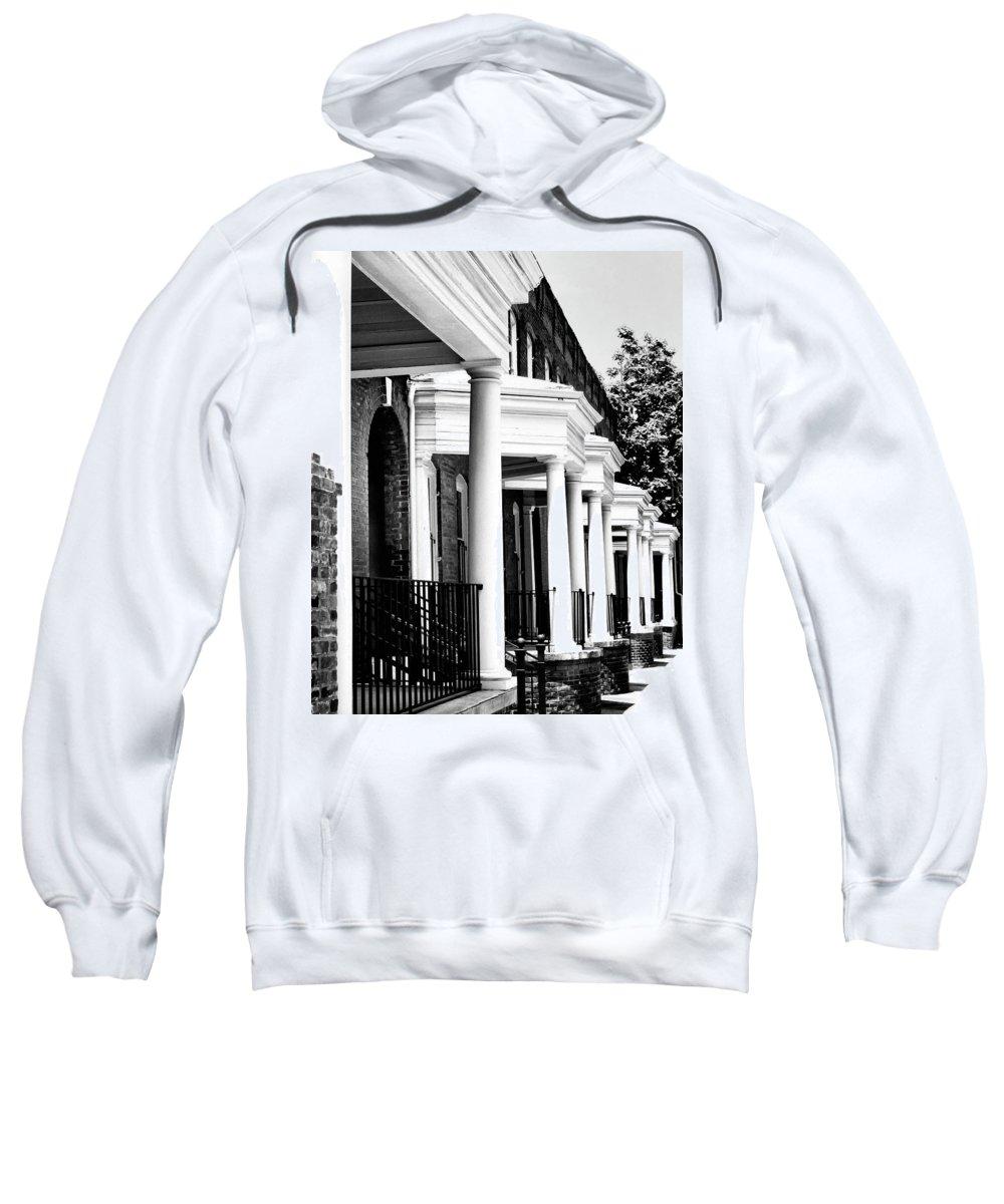 Savannah Sweatshirt featuring the photograph Savannah Rowhouses Savannah Ga by William Dey