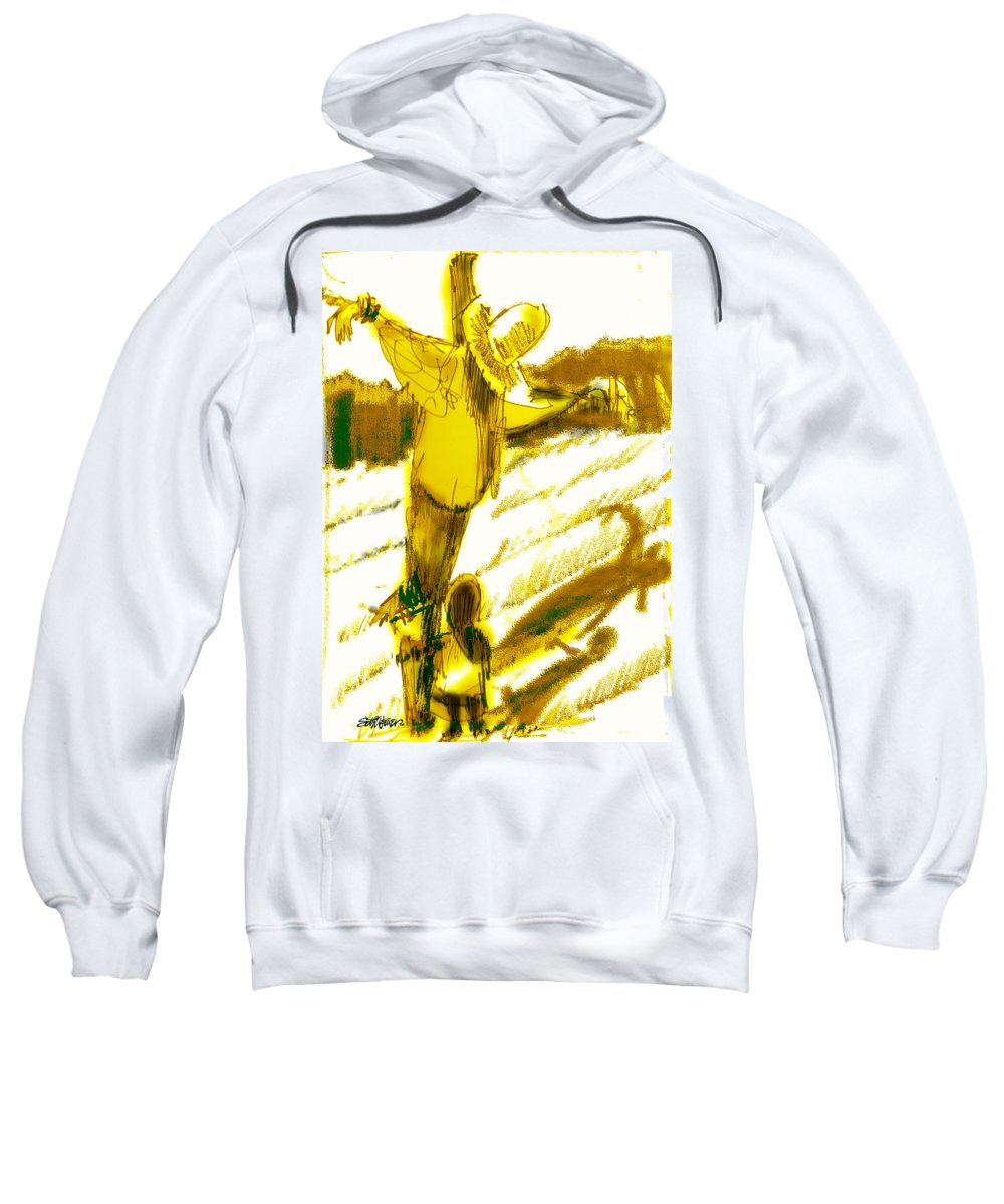 Scarecrow Babysitter Sweatshirt featuring the digital art Scarecrow Babysitter by Seth Weaver