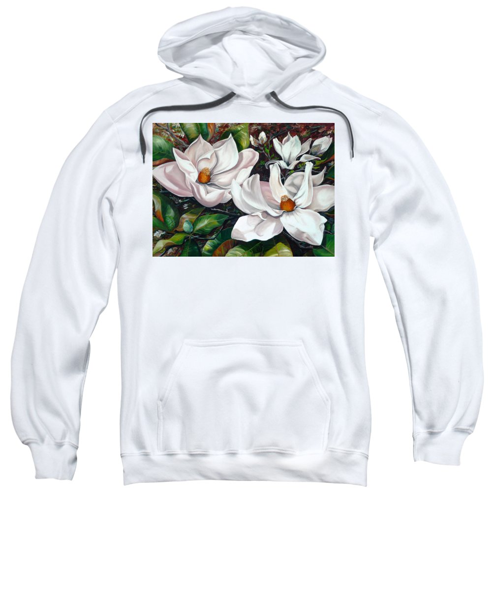 Magnolia Painting Flower Painting Botanical Painting Floral Painting Botanical Bloom Magnolia Flower White Flower Greeting Card Painting Sweatshirt featuring the painting Scent Of The South. by Karin Dawn Kelshall- Best