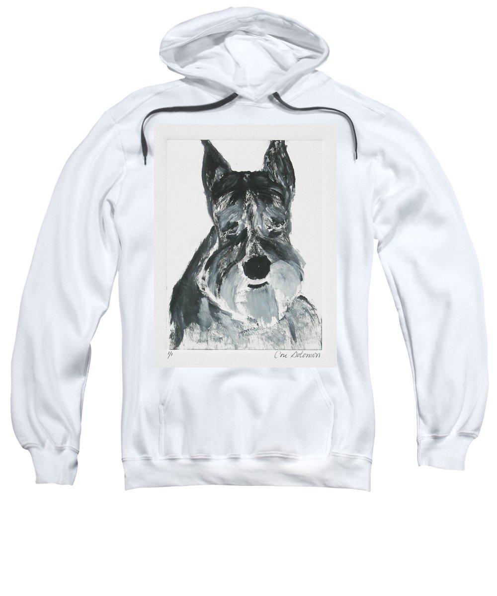 Dog Sweatshirt featuring the mixed media Schnauzing Around by Cori Solomon