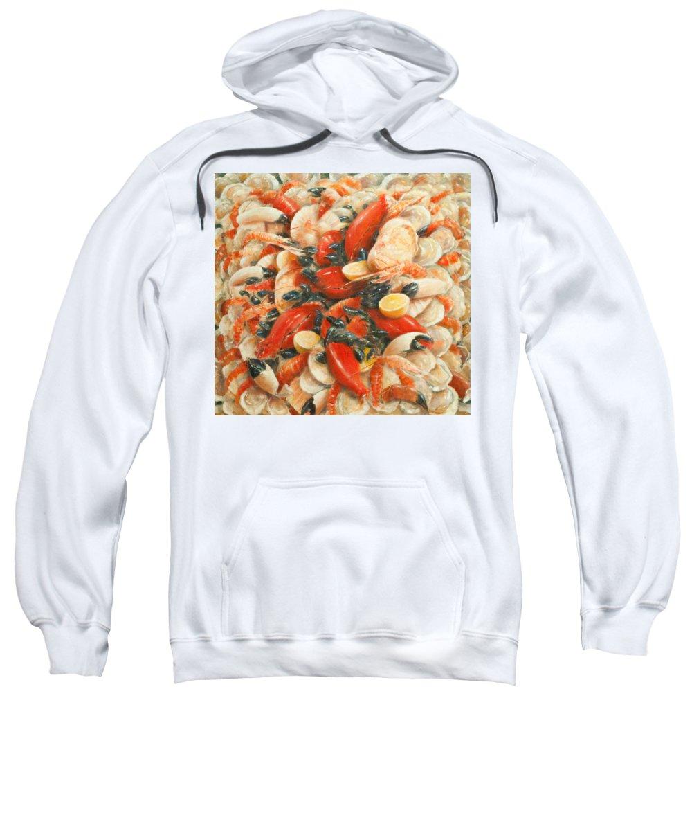 Fish; Lemon; Claws; Crab; Scallops; Shellfish; Prawn; Lobster; Crayfish; Abundance; Food; Atmospheric; Photorealist; Still Life Sweatshirt featuring the painting Seafood Extravaganza by Lincoln Seligman