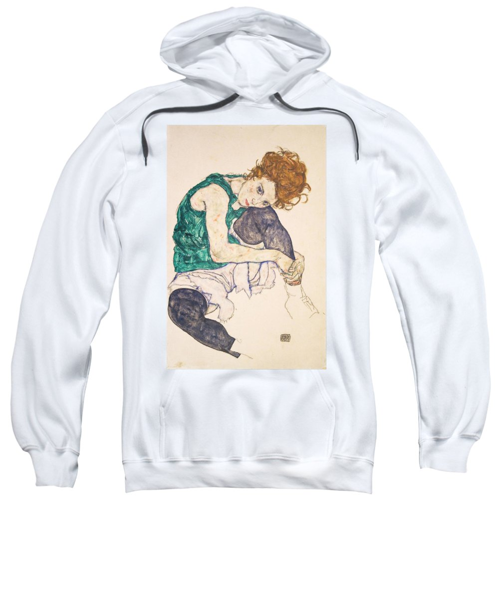 Egon Schiele Sweatshirt featuring the painting Seated Woman With Legs Drawn Up. Adele Herms by Egon Schiele