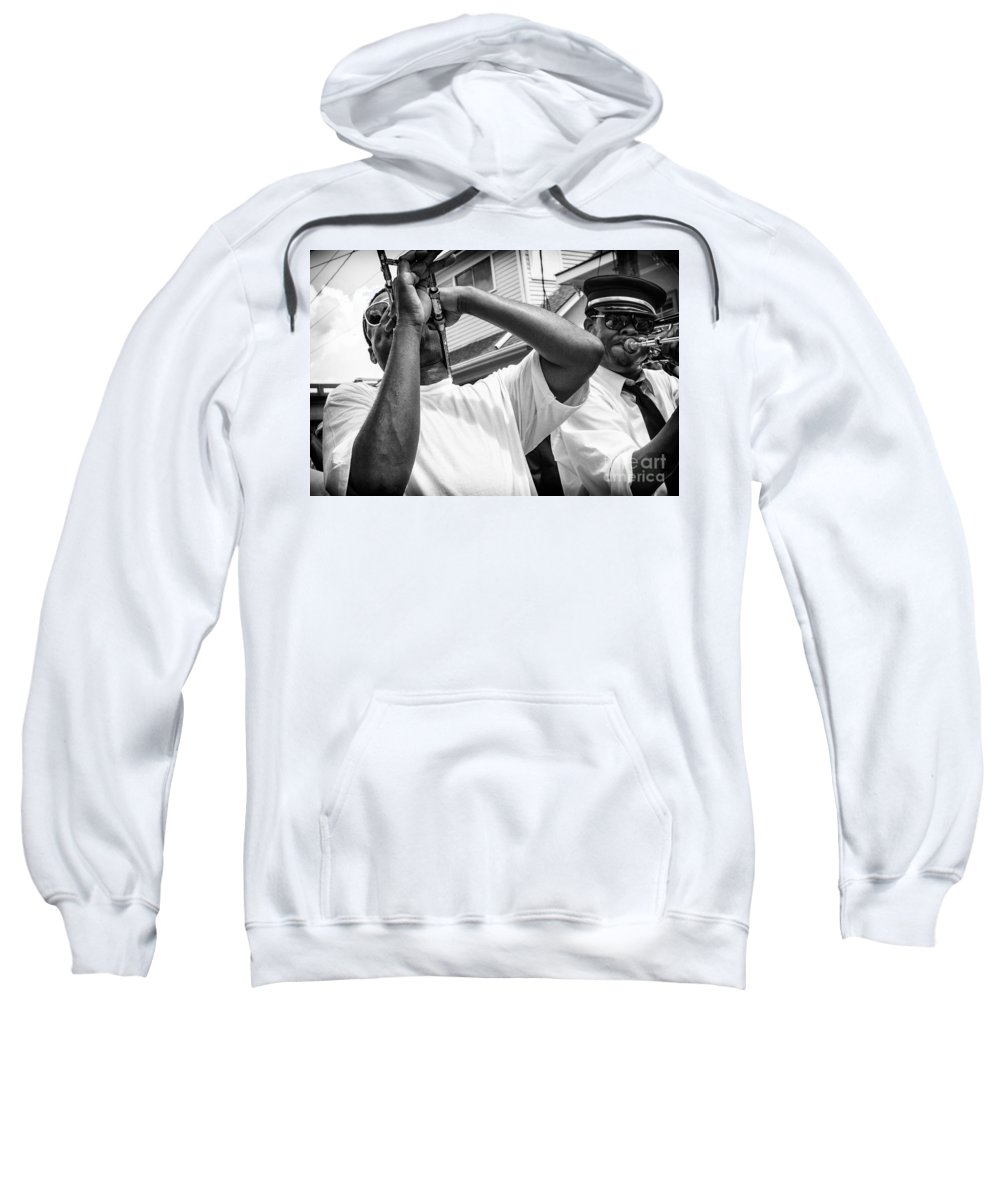 Musicians Sweatshirt featuring the photograph Second Line Black And White by Mary Smyth