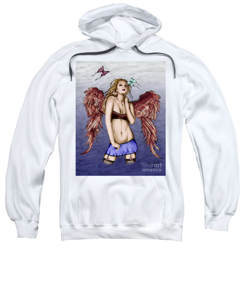 Seductive Angel Sweatshirt featuring the drawing Seductive Angel Colored by Peter Piatt
