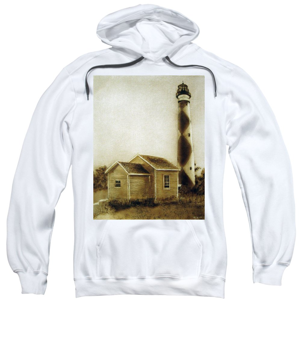 Light House Sweatshirt featuring the painting Sentry In Sepia by Donna Lee Nyzio