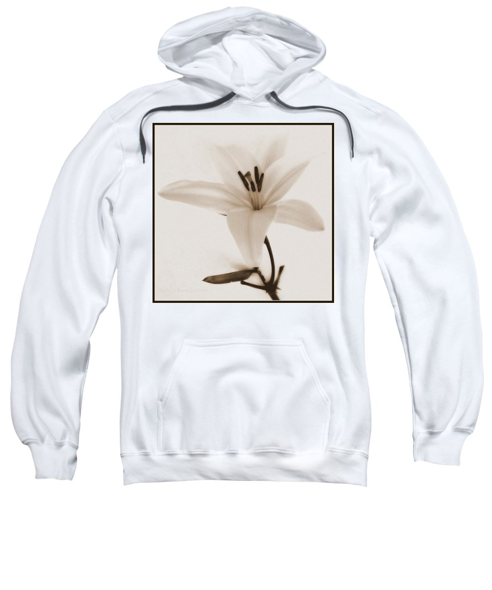 Sepia Sweatshirt featuring the photograph Sepia Lily In Snow by Kathy Barney