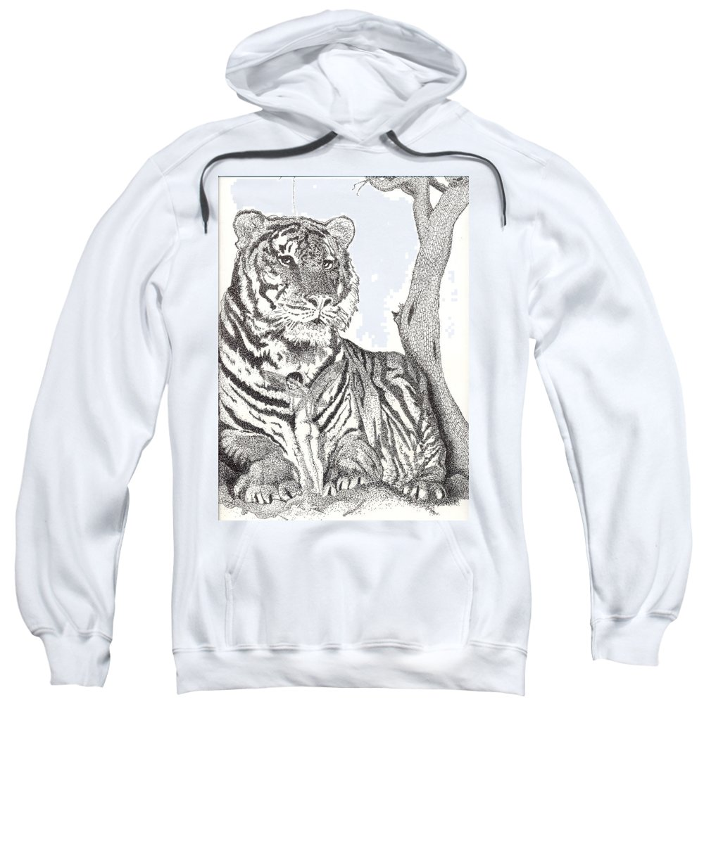 Tiger Sweatshirt featuring the drawing Serenity by Patrick Vnuk