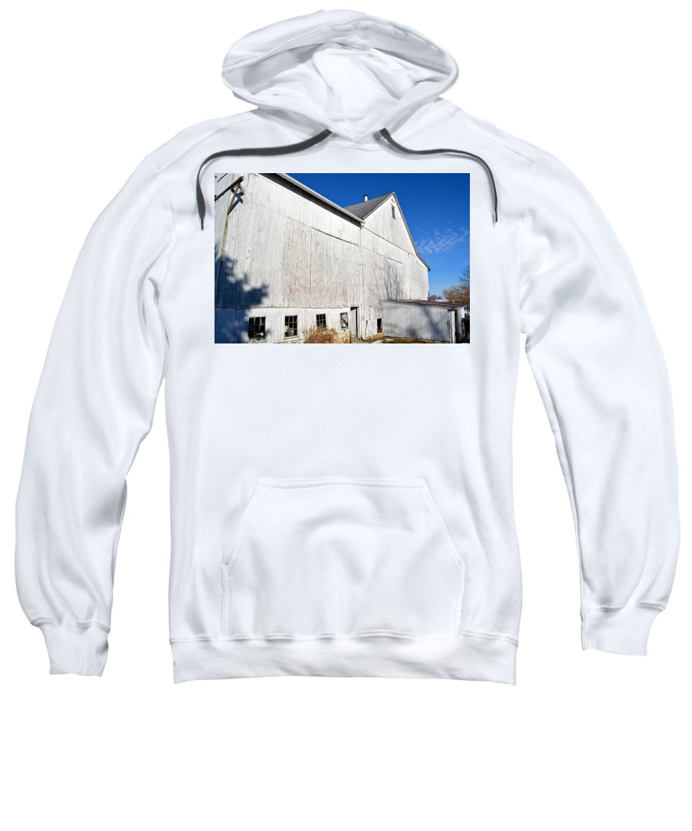 Amish Sweatshirt featuring the photograph Shadow On White Barn by Tana Reiff