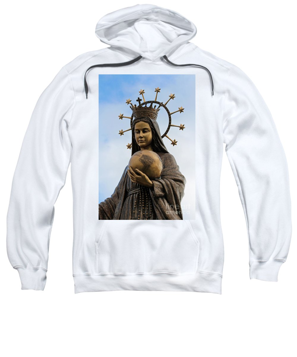 Virgin Mary Sweatshirt featuring the photograph She Watches Over The World by Barbara McMahon