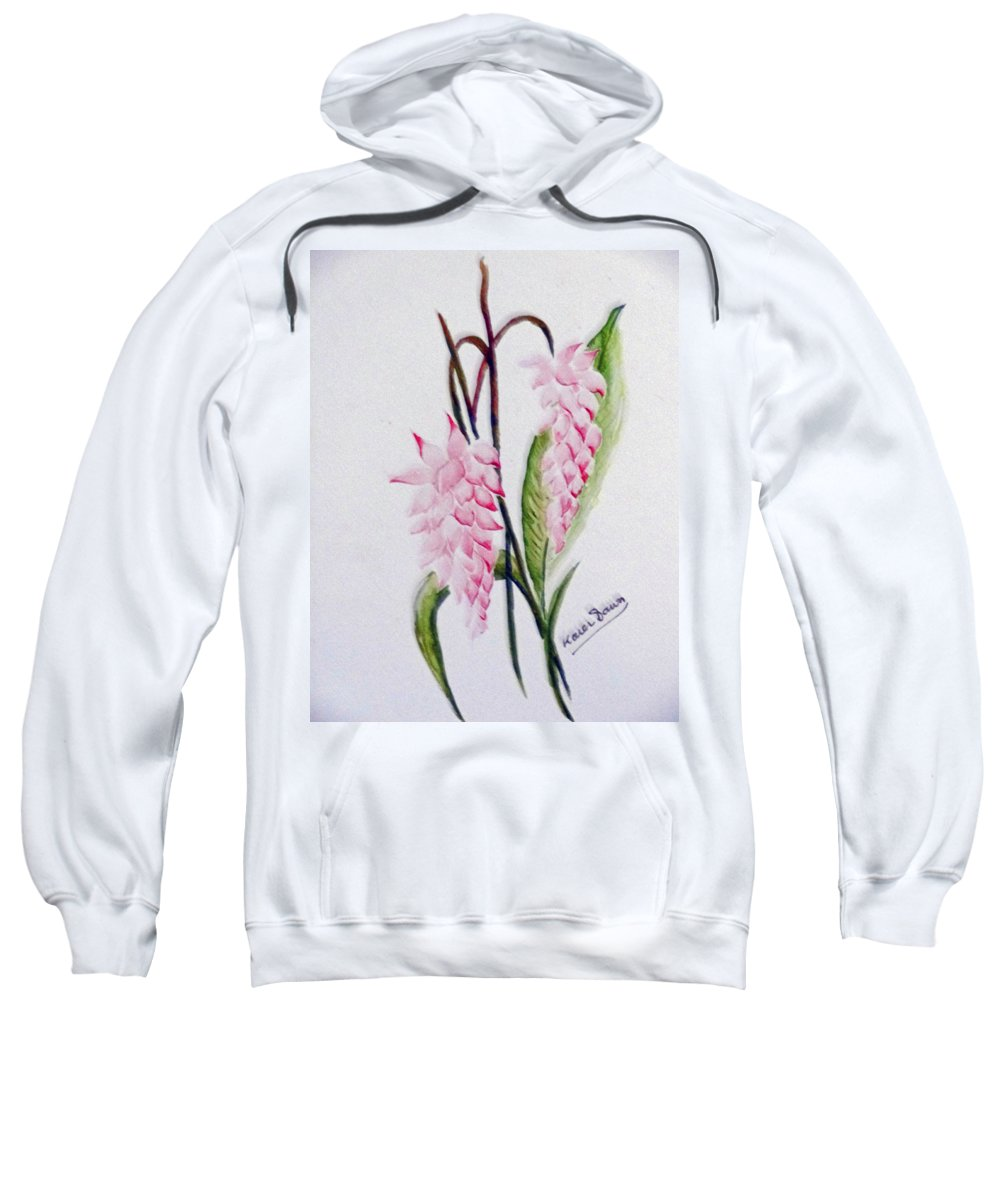 Tropical Ginger Sweatshirt featuring the painting Shell Ginger by Karin Dawn Kelshall- Best