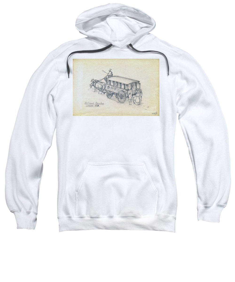 Bus Sweatshirt featuring the drawing Shillibeers Omnibus by John Chatterley
