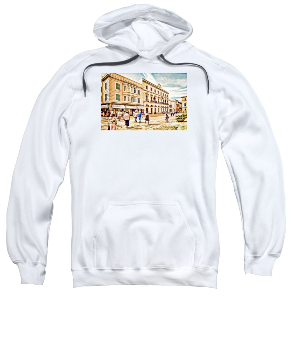 Ciutadella Sweatshirt featuring the digital art Shopping In Menorca by John Lynch