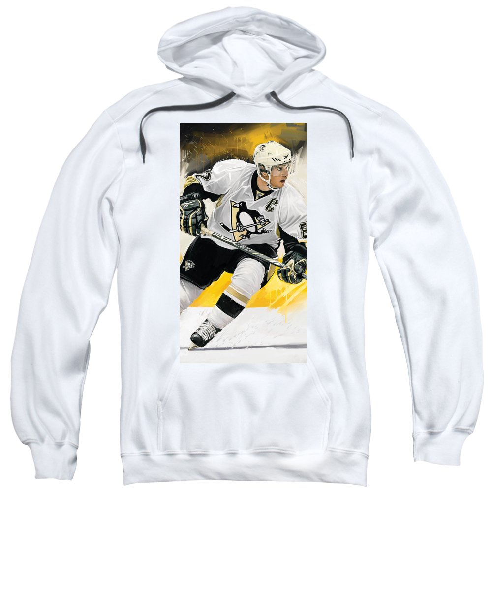 Sidney Crosby Paintings Sweatshirt featuring the mixed media Sidney Crosby Artwork by Sheraz A