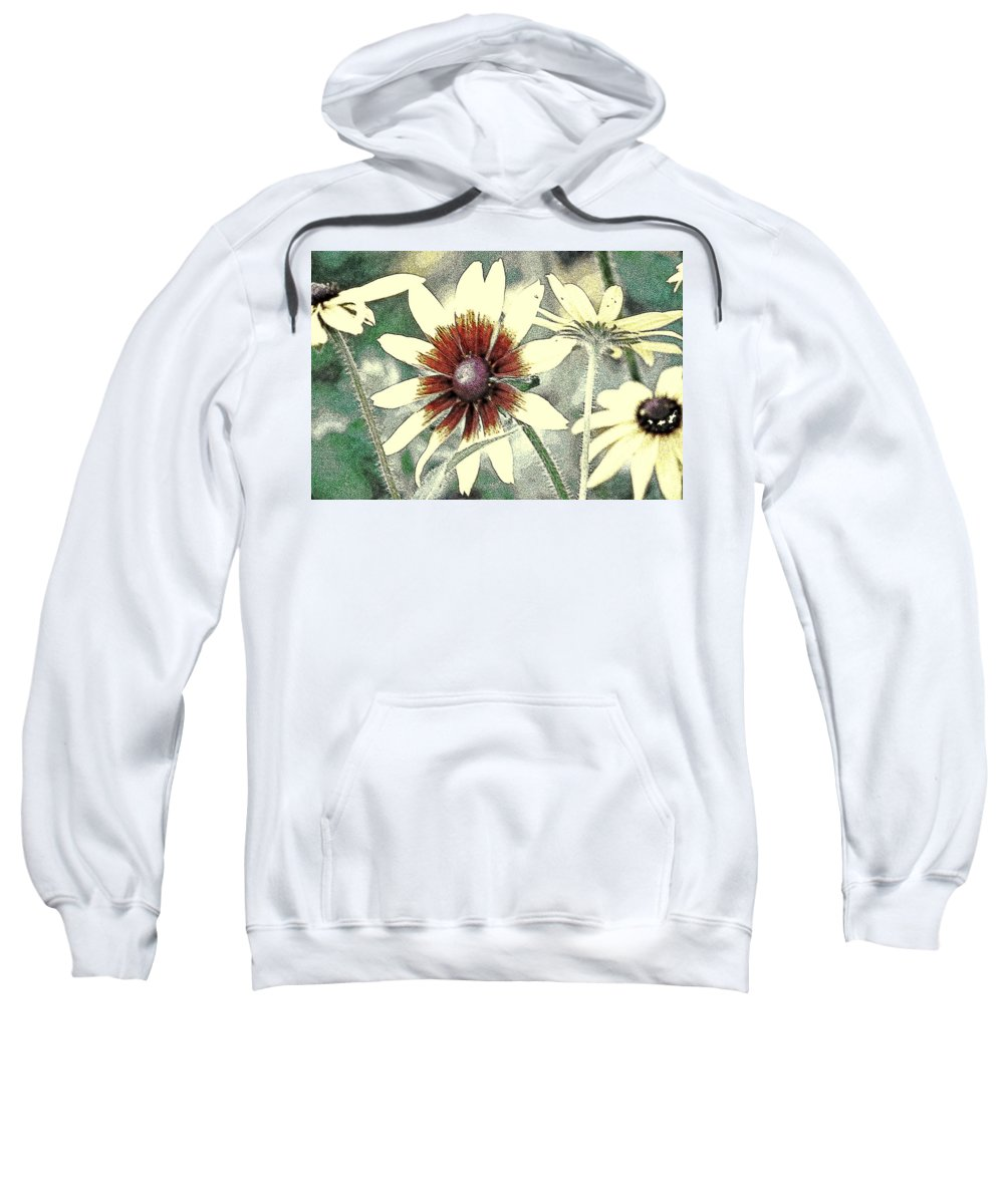 Black Eyed Sweatshirt featuring the digital art Silly Suzans by Kathy Sampson