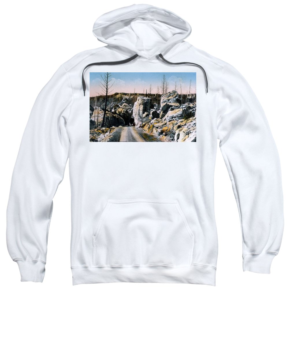 History Sweatshirt featuring the photograph Silver Gate Road Yellowstone Np by NPS Photo Frank J Haynes