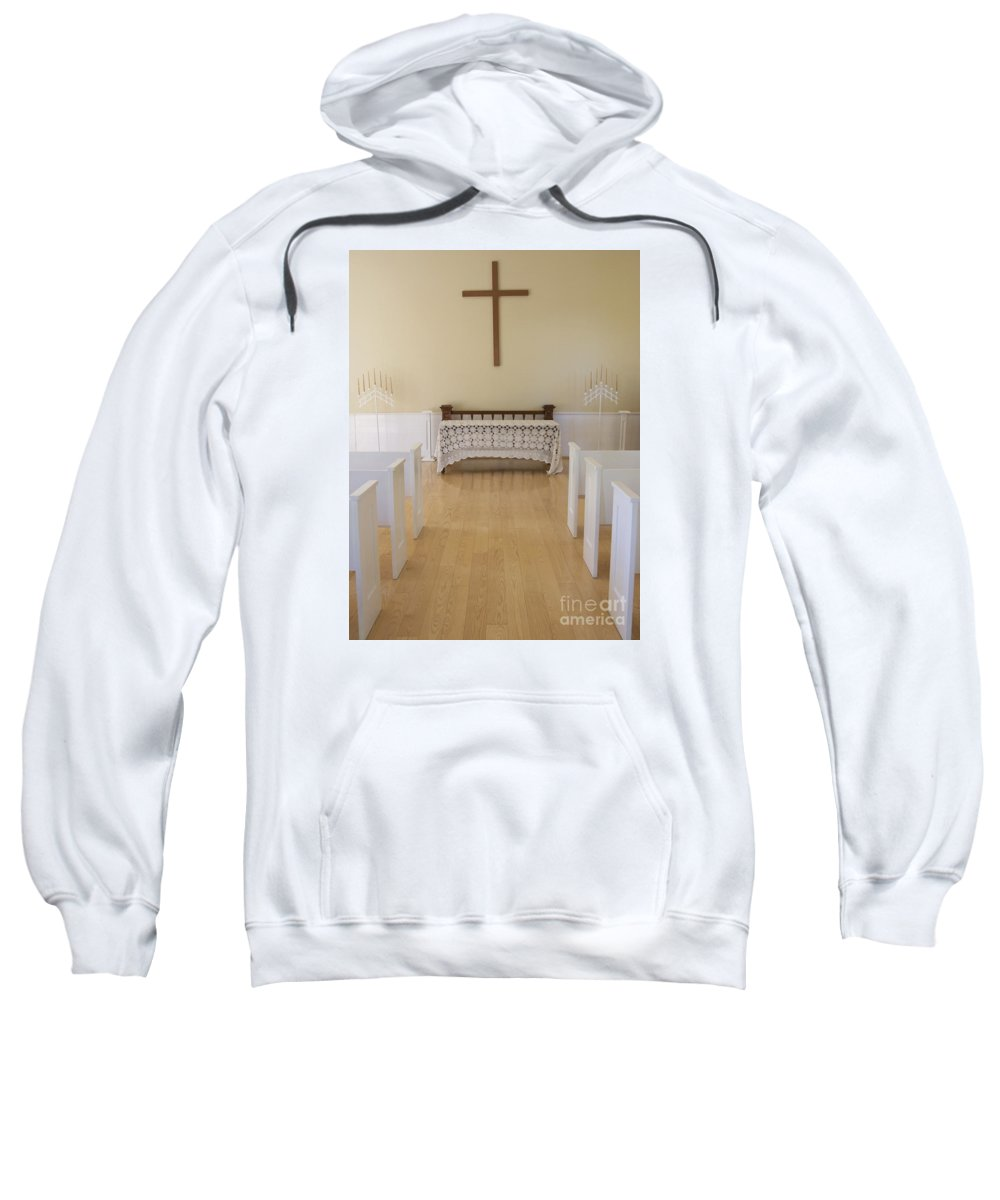 Chapel Sweatshirt featuring the photograph Simple Sunlit Chapel by Ann Horn