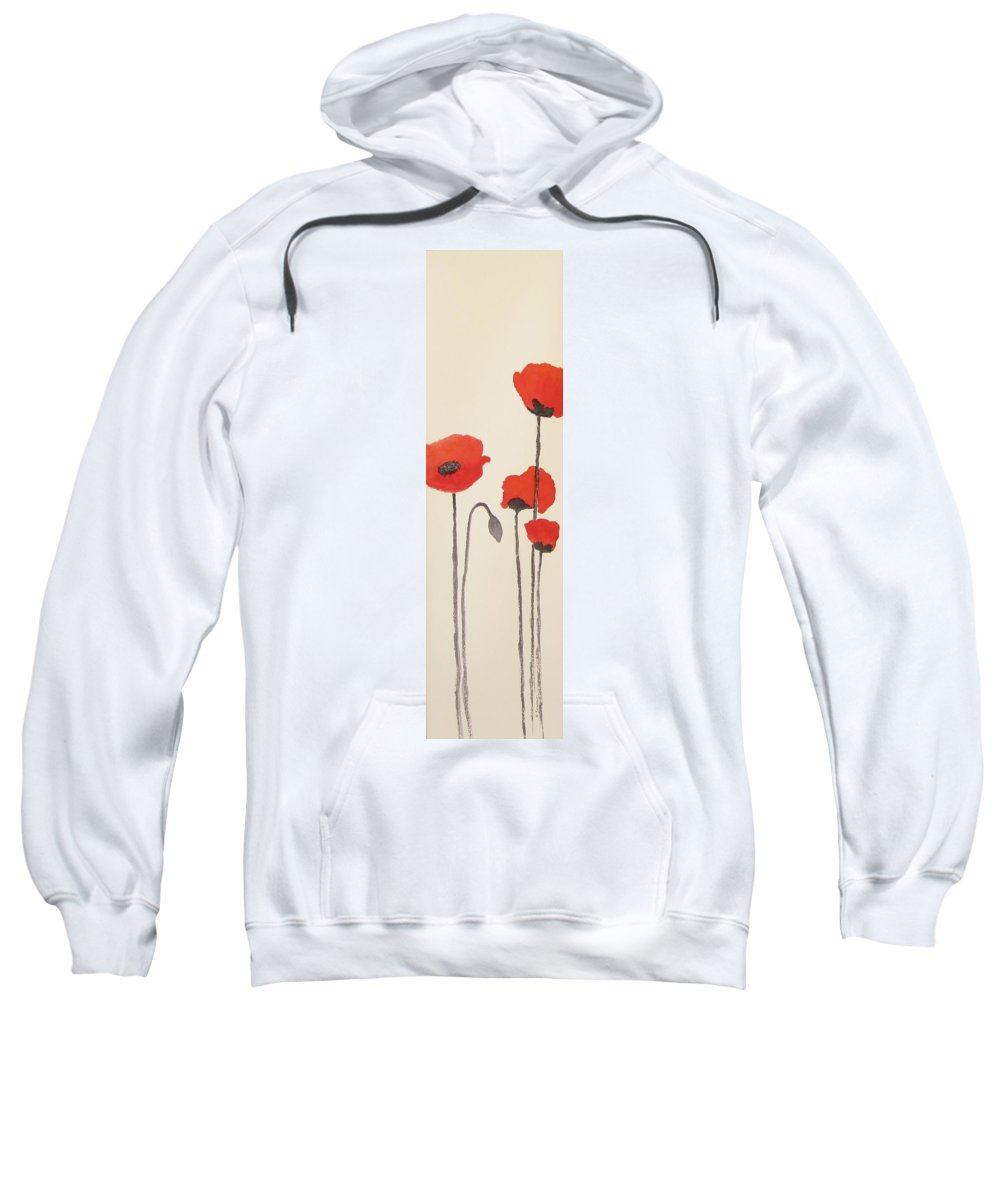 Floral Sweatshirt featuring the painting Simply Poppies 2. by Elvira Ingram
