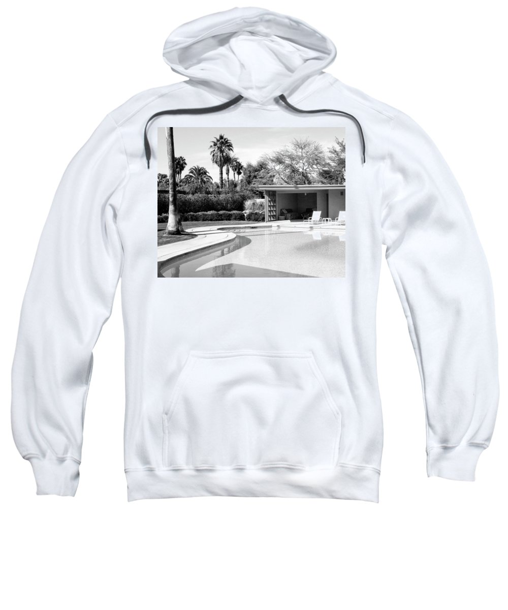 Sinatra House Sweatshirt featuring the photograph Sinatra Pool And Cabana Bw Palm Springs by William Dey