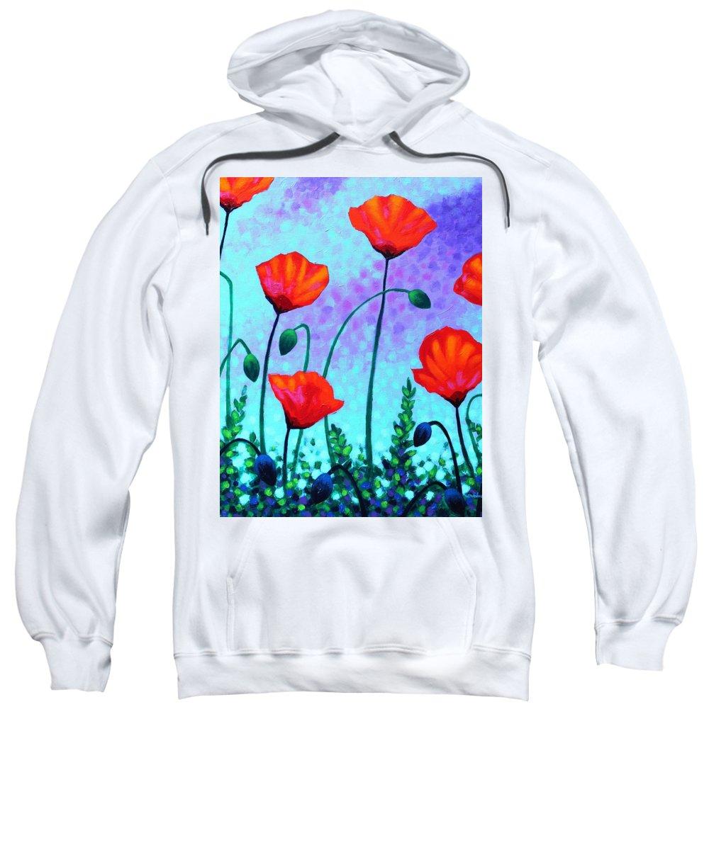 Acrylic Sweatshirt featuring the painting Sky Poppies by John Nolan