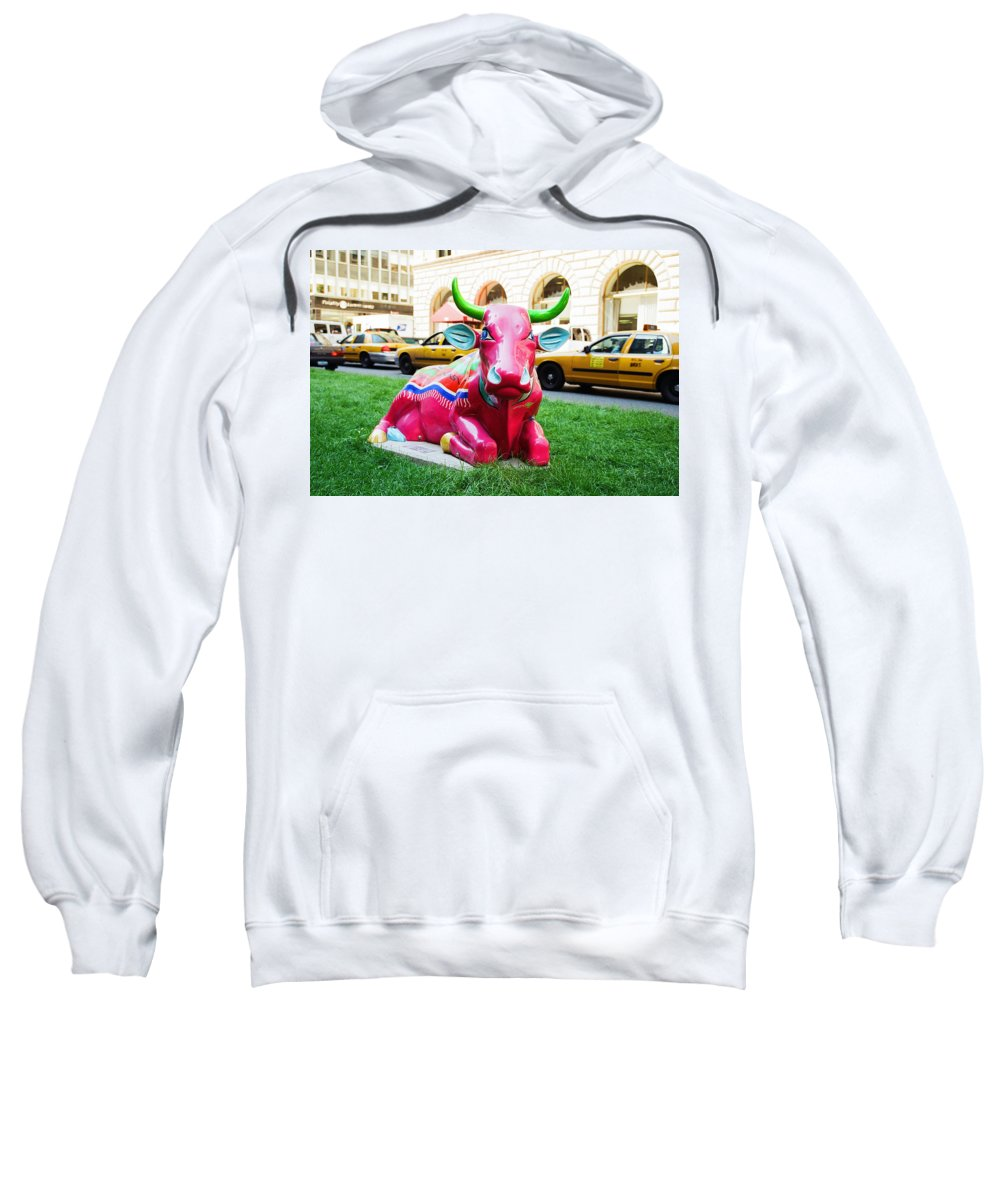 Sleepy Time Cow Sweatshirt featuring the photograph Cow Parade N Y C 2000 - Sleepy Time Cow by Allen Beatty