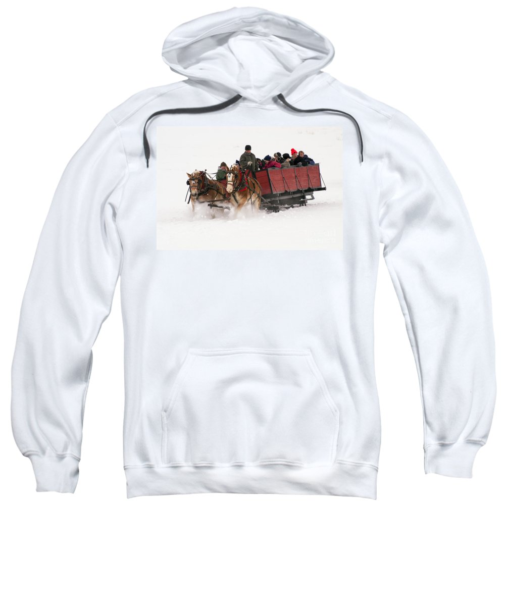 Jackson Hole Sweatshirt featuring the photograph Sleigh Ride by Bob Phillips