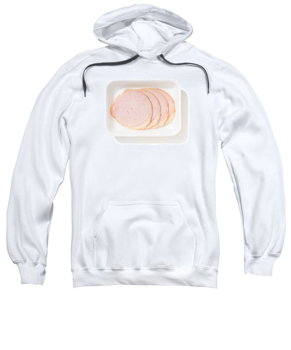 Background Sweatshirt featuring the photograph Slices Of Roll Ham With Rind by Alain De Maximy