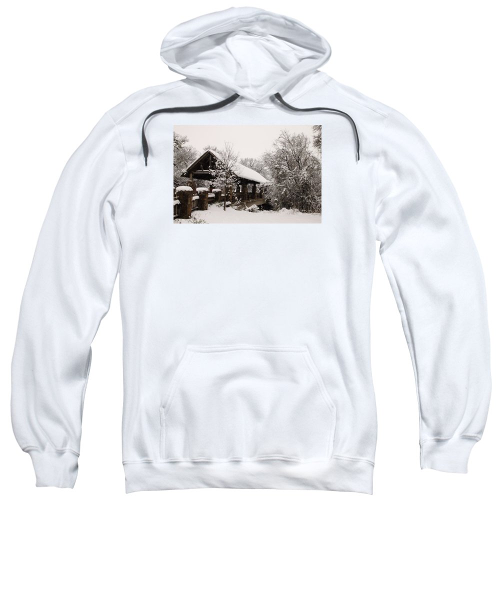 Bridge Sweatshirt featuring the photograph Snow Covered Bridge by Robert Frederick