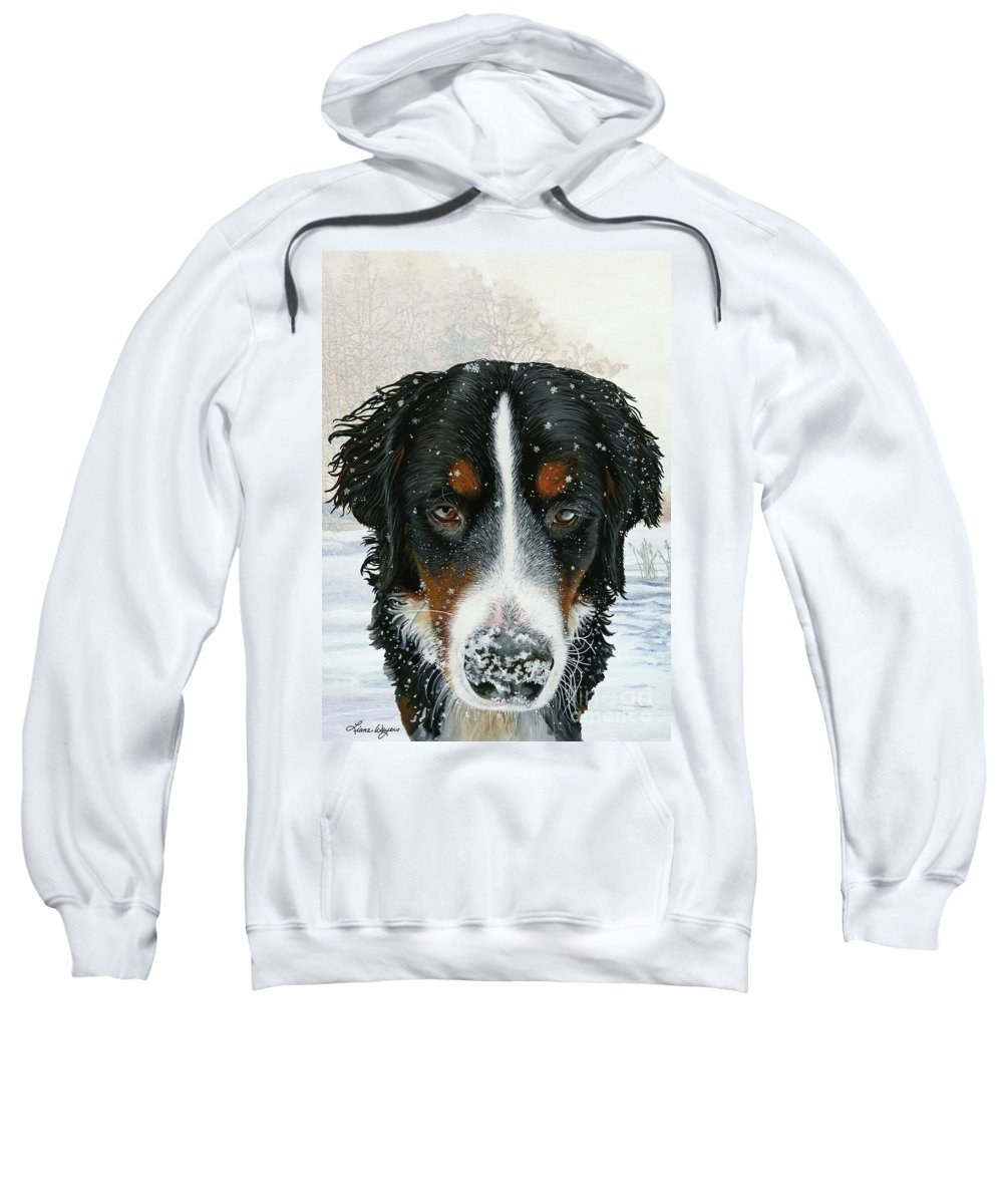 Bernese Sweatshirt featuring the painting Snow Day by Liane Weyers