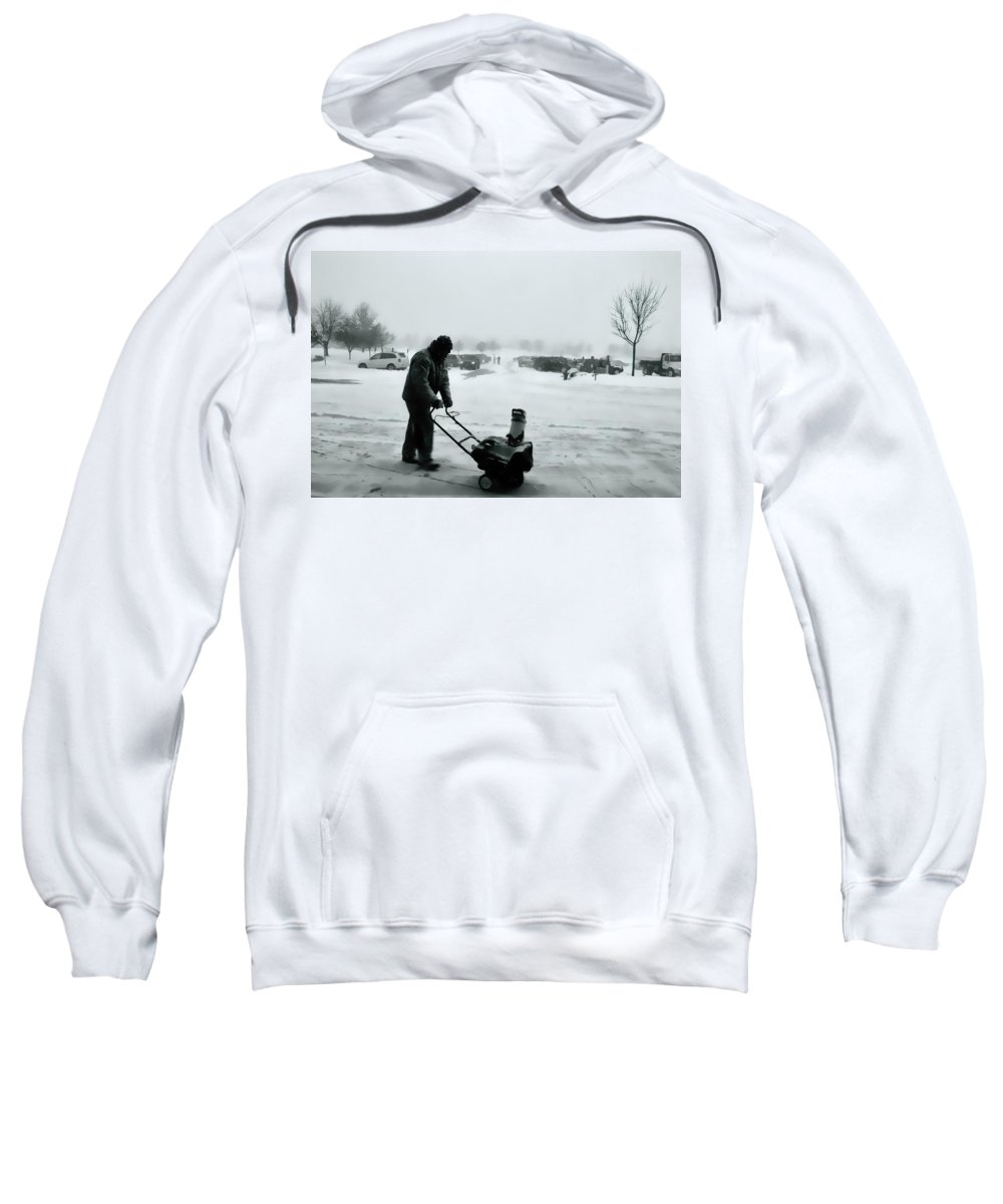 Snow Blower Sweatshirt featuring the photograph Snow Storm Minneapolis by Amanda Stadther