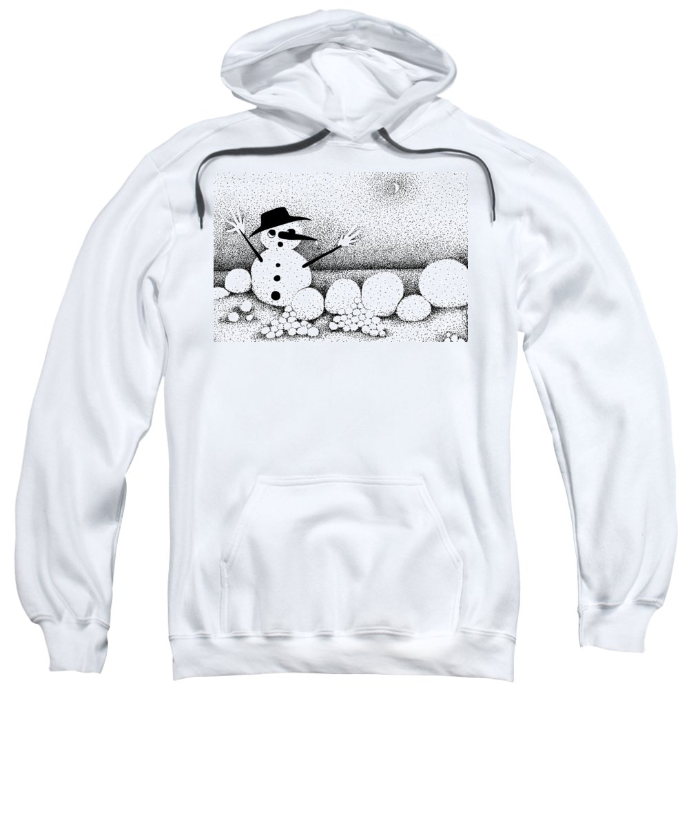 Designs Sweatshirt featuring the drawing Snowball Fight by Joy Bradley