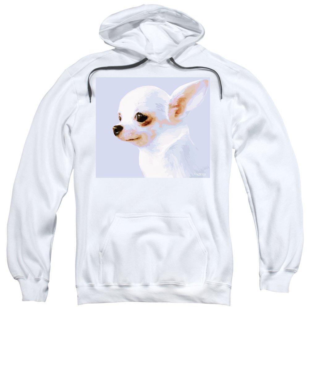 Rebecca Korpita Sweatshirt featuring the photograph Snowman - White Chihuahua by Rebecca Korpita