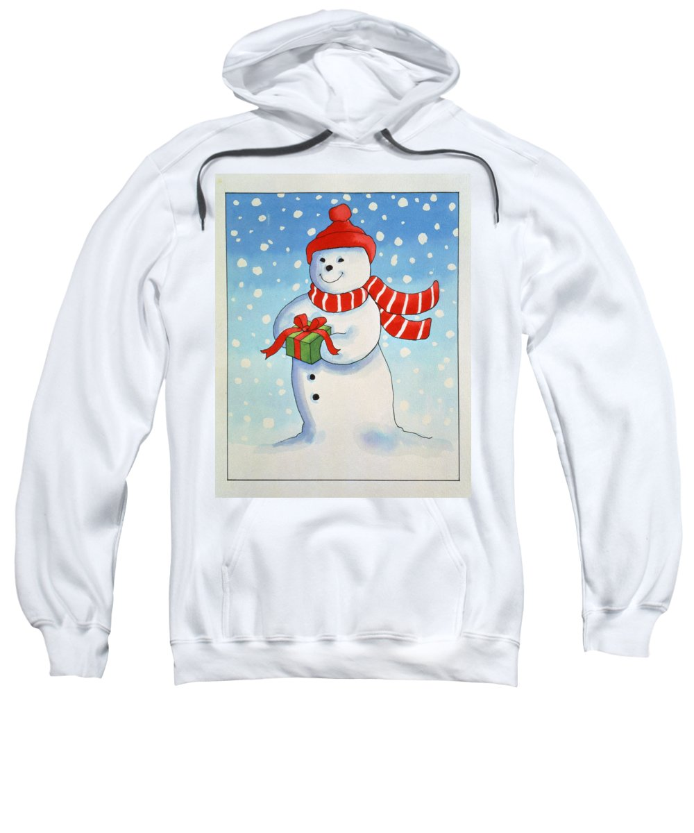 Snowman Sweatshirt featuring the painting Snowmans Christmas Present by Lavinia Hamer