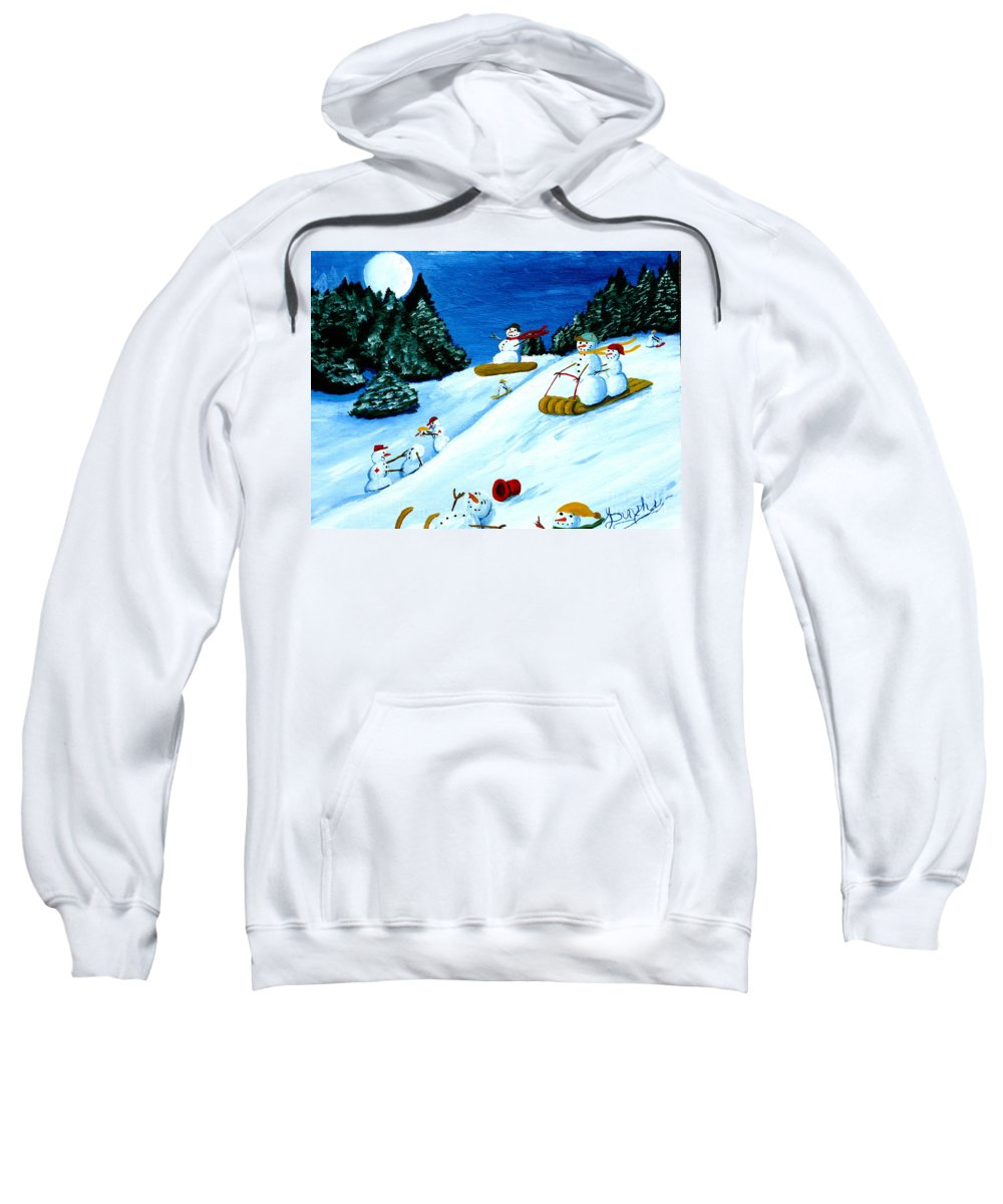 Snow Sweatshirt featuring the painting Snowmans Winter Sports by Anthony Dunphy