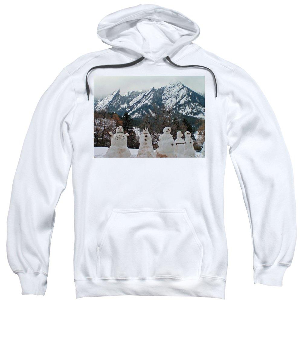 Snowman Winter Snow Nature Flatirons Boulder Colorado Rocky Mountains Nature Chautauqua Sweatshirt featuring the photograph Flatiron Snowmen. by George Tuffy