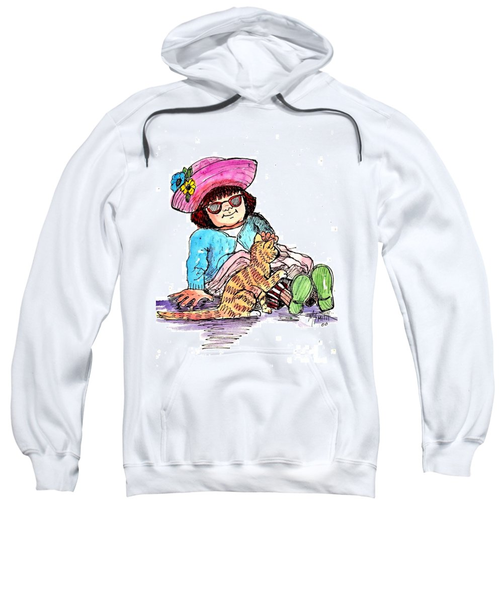 Red Haired Girl Sweatshirt featuring the drawing Sofie And Mittens by Marilyn Smith