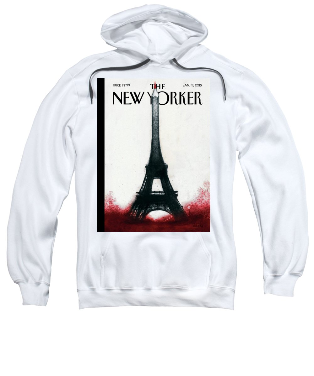 Charlie Hebdo Sweatshirt featuring the painting Solidarite by Ana Juan