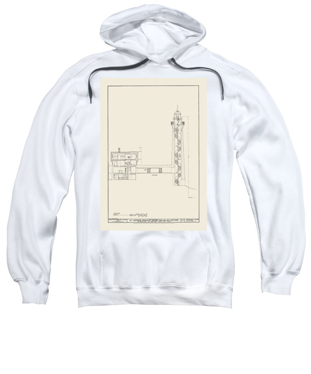 South Sweatshirt featuring the drawing South Manitou Island Lighthouse Number 2 by Jerry McElroy
