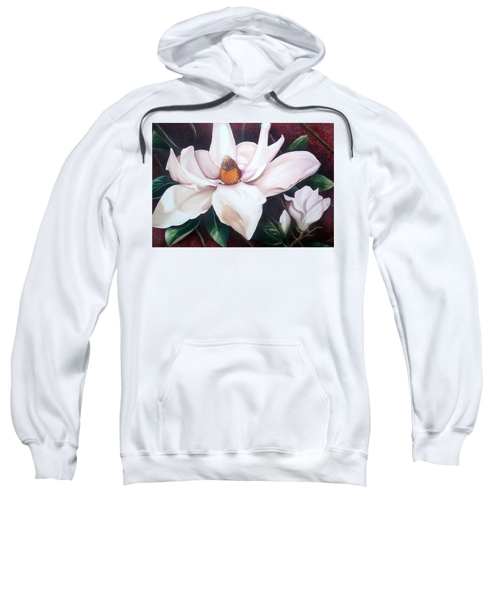 Magnolia Southern Bloom Floral Botanical White Sweatshirt featuring the painting Southern Beauty by Karin Dawn Kelshall- Best