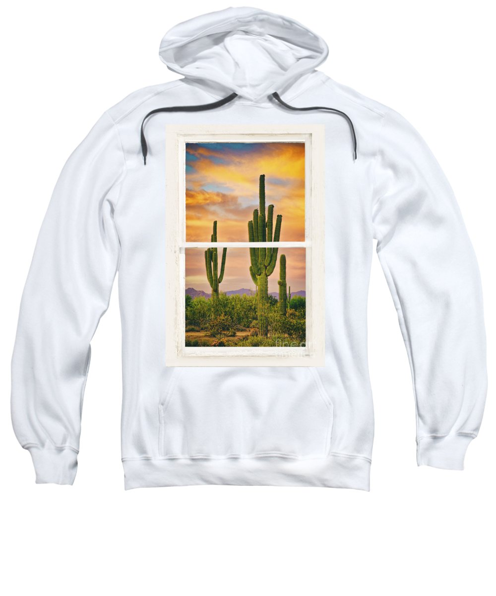 'window Frame Art' Sweatshirt featuring the photograph Southwest Desert Sunset White Rustic Distressed Window Art by James BO Insogna