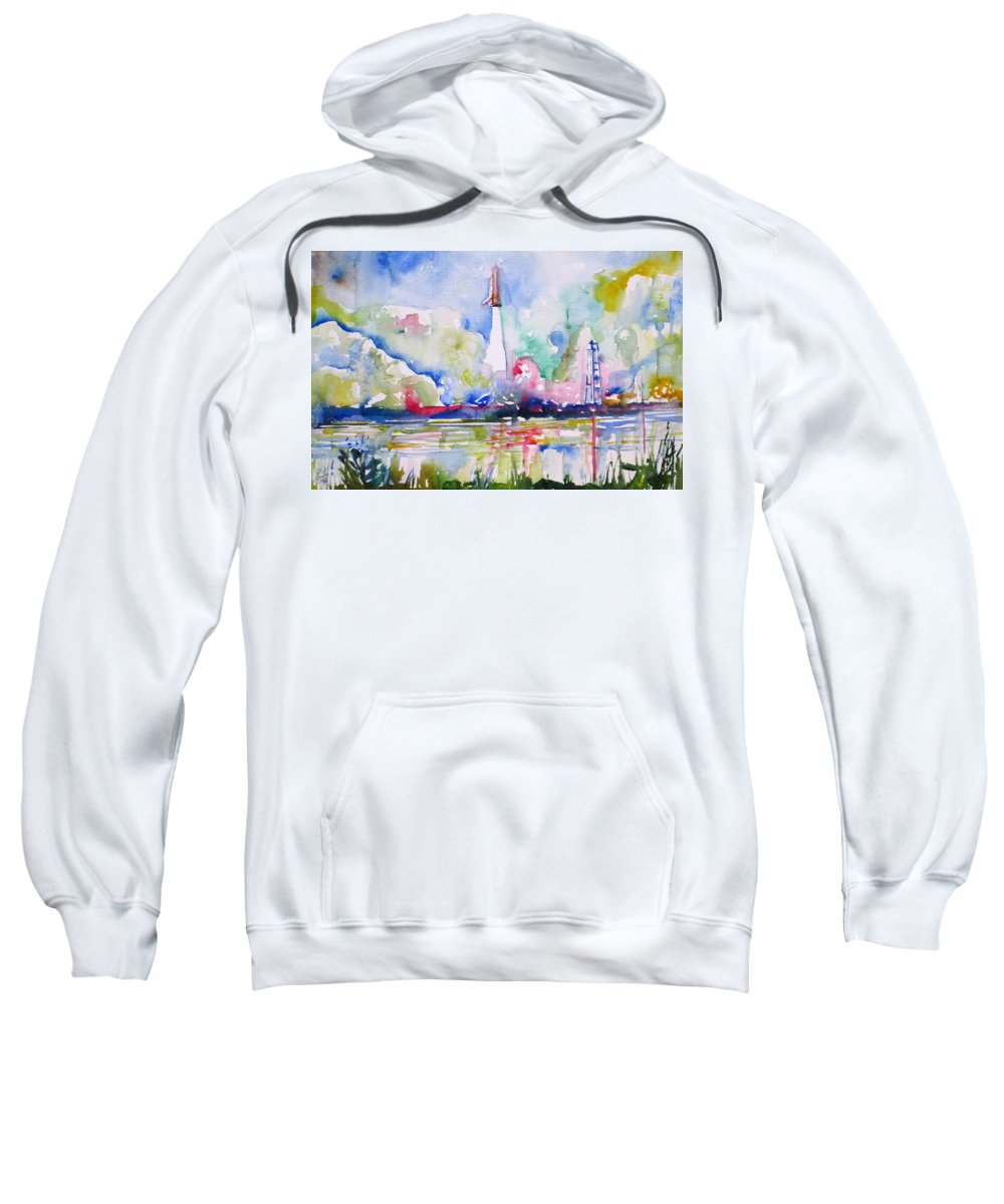 Space Sweatshirt featuring the painting Space Shuttle Taking Off by Fabrizio Cassetta