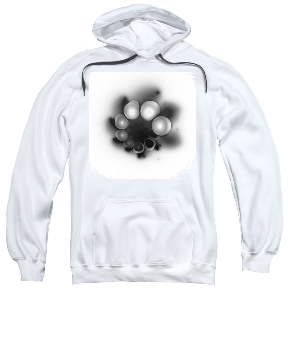 Grey Gray Black White Fractal Digital Art Abstract Expressionism Impressionism Sphere 9 Sweatshirt featuring the painting Sphere 9 by Steve K