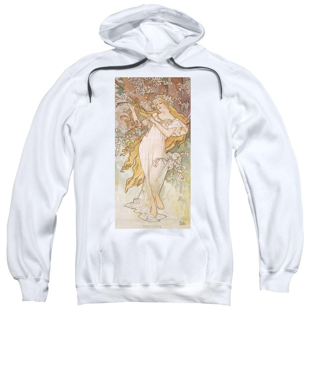 Mucha Sweatshirt featuring the painting Spring Printemps by Alphonse Marie Mucha